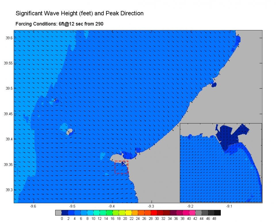 Mid sized west swell suffers little shadowing from the headland north of Supertubos and hits the beach after losing only a little size.