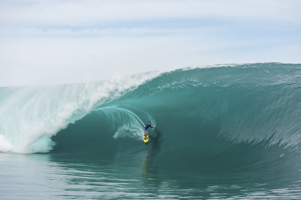 Mark Healy very casual in the biggest glassiest conditions seen at Teahupoo for a year.