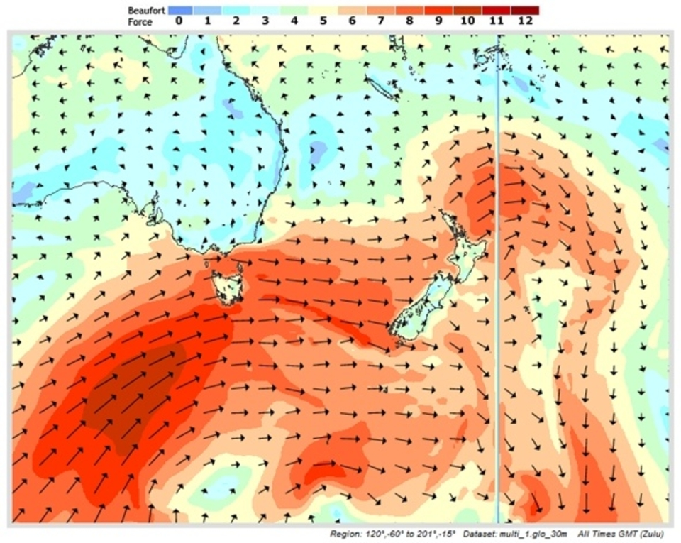 Strong polar low (944mbar in the centre) forecast to create a large south-west fetch.