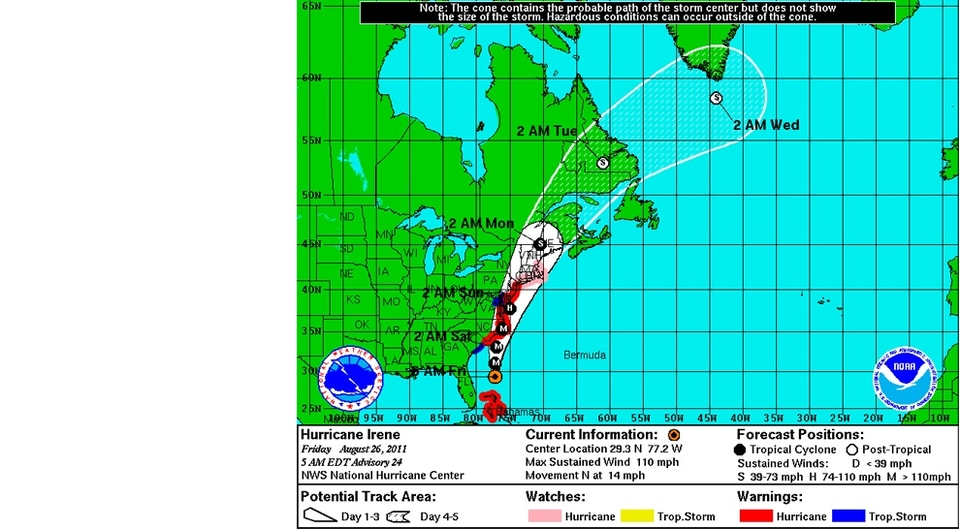 HURRICANE Irene is hovering around the Major status and headed straight for the Outer Banks. The NHC have reduced the intensity estimate to 95knts/110mph with a central pressure of  942 mb. Whilst slightly lower in intensity Irene is still a large and dangerous storm.    Irene is moving through a weakness at the western end of the subtropical ridge and should make landfall in North Carolina on Saturday morning bringing with it a 12ft storm surge  and winds in excess of a 100mph, this is not surfing weather. The track is then forecast to pass near the coast of the Mid-Atlantic states before making landfall in New England. After landfall Irene should merge with the westerlies and turn northeastward hard and eventually out into the North Atlantic next week.   Hurricane warnings are in effect for North Carolina through to New Jersey (meaning contact is expected in 36 hours) whilst a hurricane watch (likely in 48 hours) is in effect for  New York, Long Island, Boston and Nantucket. Irene is encountering light to moderate southwesterly vertical wind shear and dry air, inhibiting further strengthening but still moving over seas of 28-29c which may counteract this and lift it from Category 2 to 3 just before landfall.