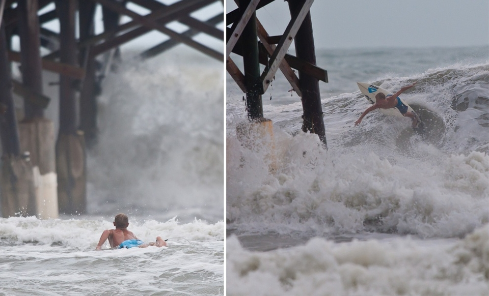 Taking advantage of Hurricane Irene swells at Cocoa Beach Pier  (Florida).   More  here