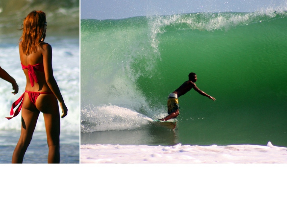 Trinidad's Sans Souci had plenty on offer, it's only the photo to the right we're decreeing eligible for the photo comp. We're not sure Rihanna surfs but she sure does like to watch.    More  here