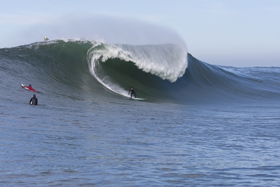 Mavericks at this size can look like a punchy a-frame you'd see down your local, except one which has been at the plant food and grown into a baby of monstrous proportions with wild swinging fists capable of swatting you like a fly.