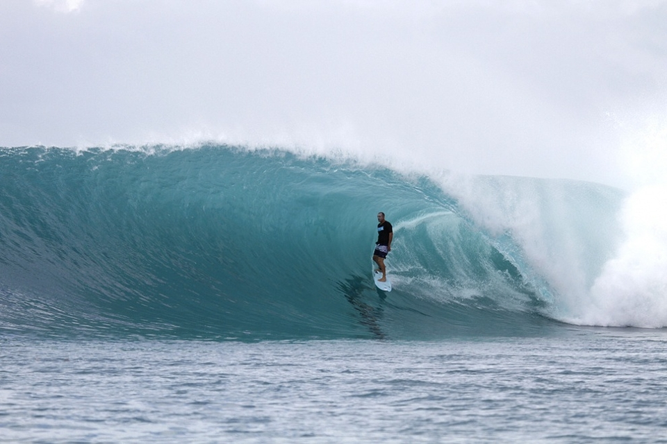 Jordan Heuer standing tall during the afternoon session. The perfect size for this wave.