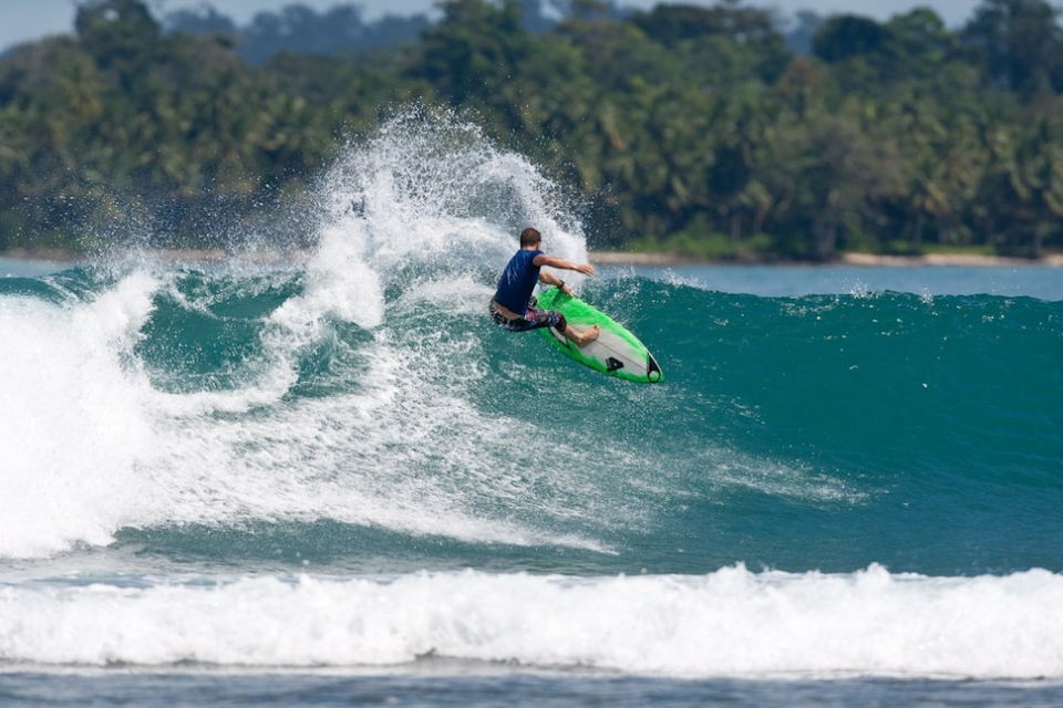 Glenn 'Micro' Hall is well known for his power surfing as he shows it here at Beng Beng, a nice left surrounded by a paradise set up and that doesn't get many visitors.