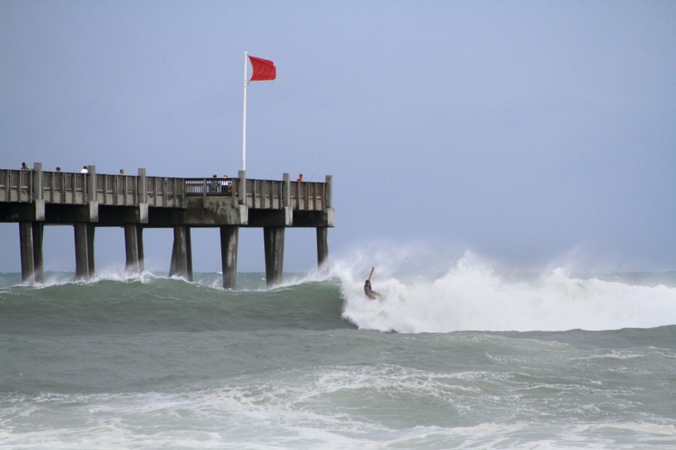 Pensacola Beach Pier, at the peak of the swell on Sunday, June 24. The beaches were doubled red flagged and the local authority advice was to not head out into the surf - which is just what all local surfers want to hear. Pretty much a call to action, the proverbial red rag to the bull.