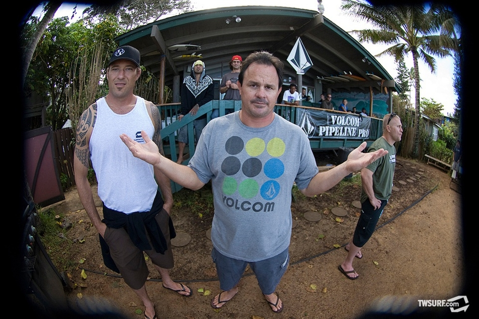 Kaiborg holding down the fort at the Volcom house.