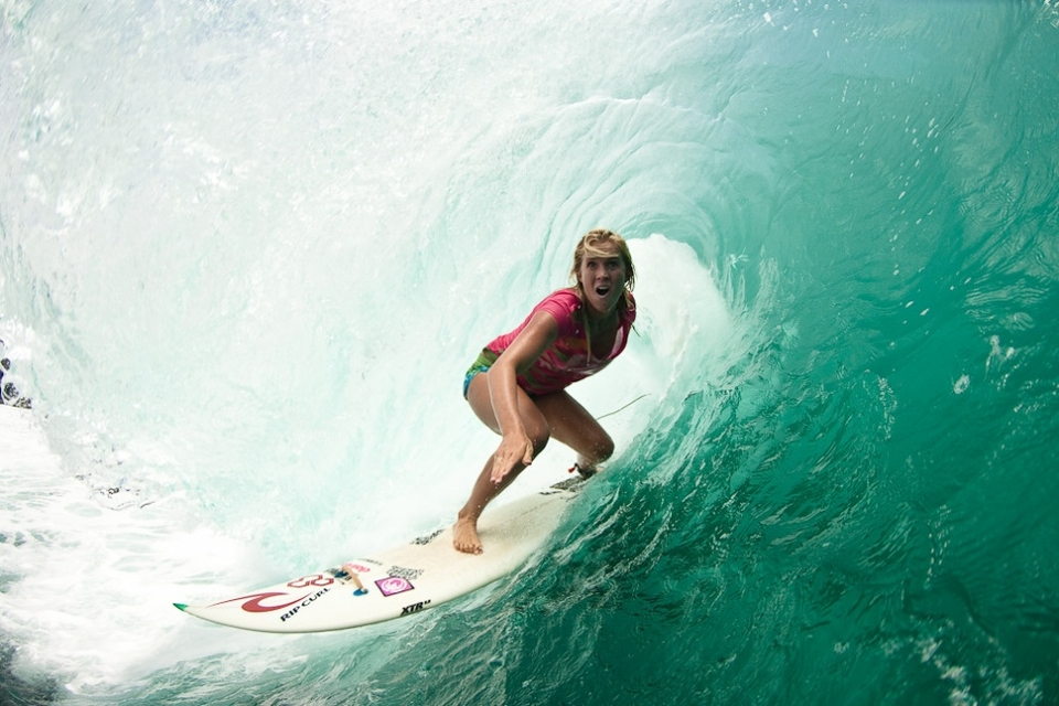 Hamilton earned her invitation to the 'Ultimate Tuberiding Contest' based on her solid credentials in big hollow surf, including a couple of freesurfing performances out at Padang Padang. Hamilton has also charged Teahupoo in Tahiti and is a regular at many of the lesser-known heavy reefbreaks near her home on Kauai.