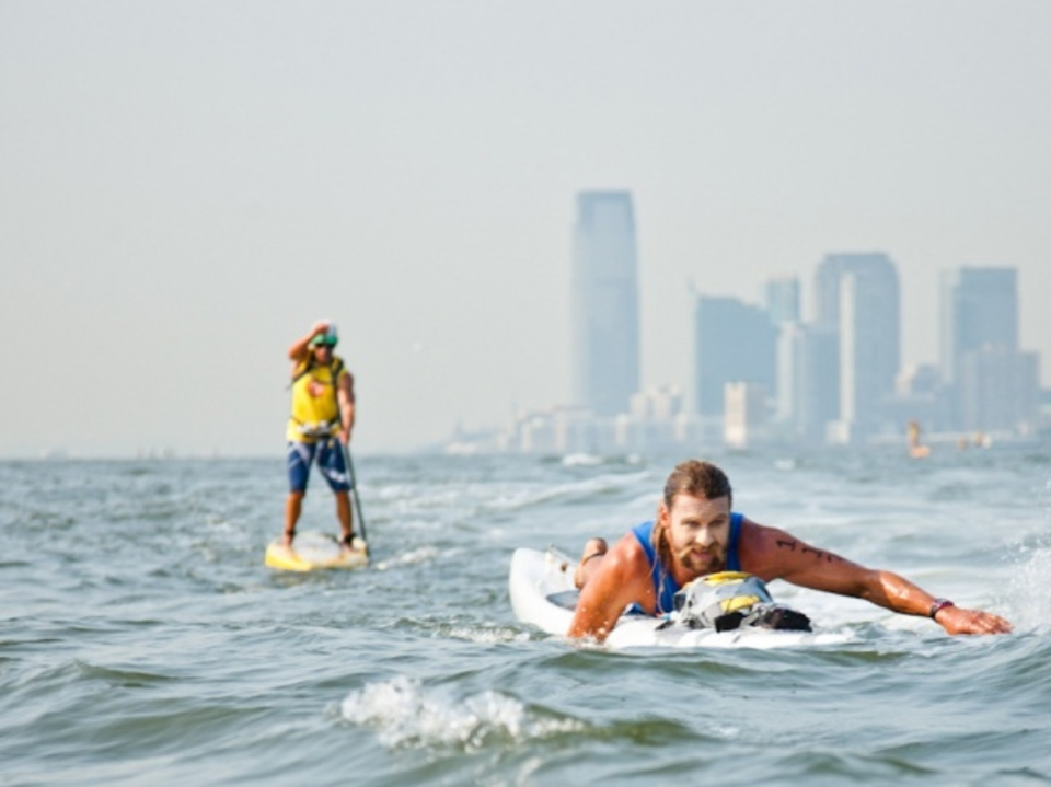 Ryan Matthews likes the tail wind and favorable current on the Hudson.