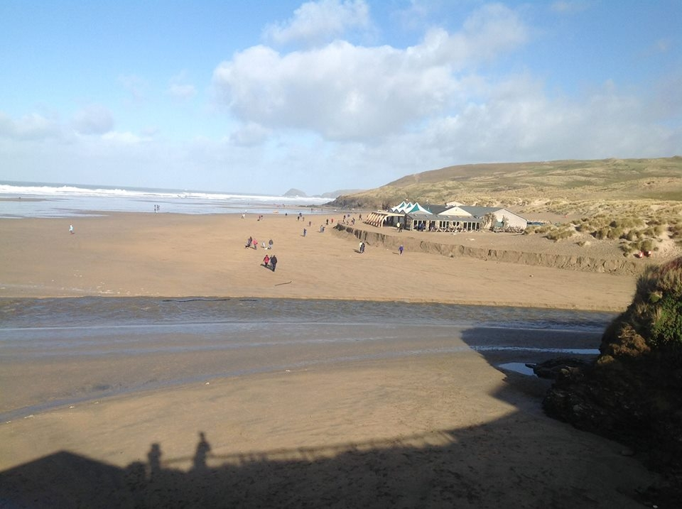 The Watering Hole  at Perranporth Beach just avoided joining the Atlantic.