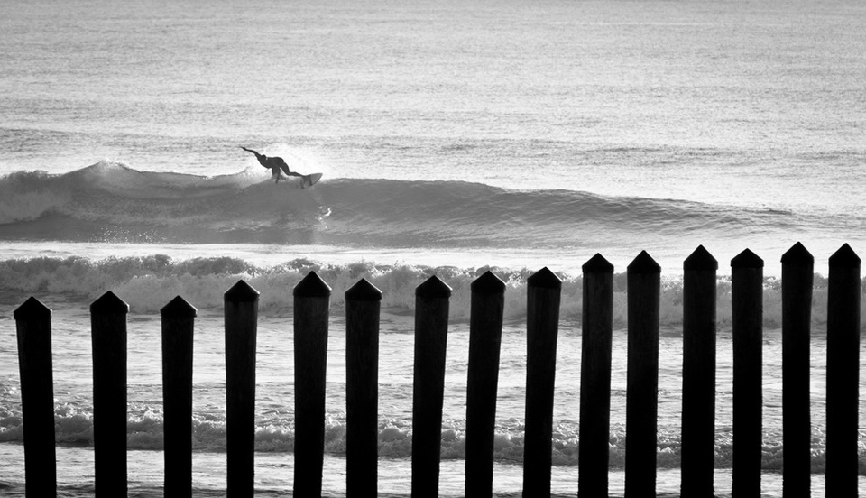When a hurricane swell hits, some surfers tend to stay close to home as the entire coast lights up with swell. Here a Poles' local takes advantage of the lack of crowds.