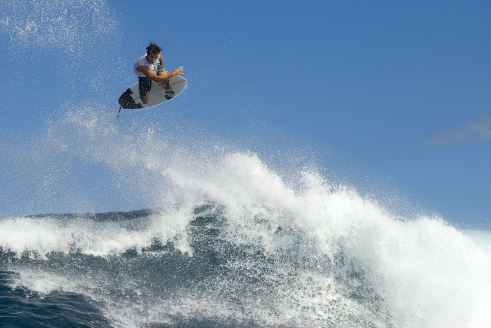 JULIAN WILSON:  Jordy wanted me for this movie, so when I got the call-up I didn't care how I did it - I was going. At Réunion Island, the bottom [of the ocean where filming took place] is sharp like in Hawaii: volcanic rock, the kind you don't want to land on. And, at the right of where we surfed, there's a big pile of rocks. Jordy got smashed on it. On my last session, I hit another set of rocks. But, you're not going to hear any complaints from me. I surfed a ton there and got a lot out of it.    NEVILLE:  That spot delivered one of the greatest waves I have ever filmed. It's very exposed to swell; the trade wind blows from the side, and the reef allows for you to have a huge roll into a big ramp. Perfect for airs. It's safe to say the stuff we filmed here closes the movie out.