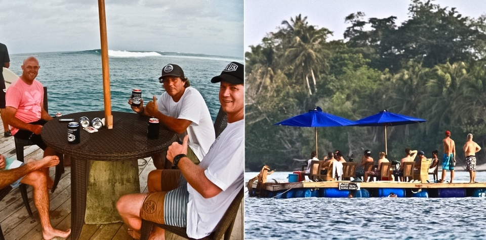 Kandui Resort Guests taking in the action at 4 Bobs, a fun right-hander directly out front of the resort.    The new floating dock has been a huge hit with our guests who enjoy being in close proximity to the wave to heckle their friends whilst downing a few Bintangs.