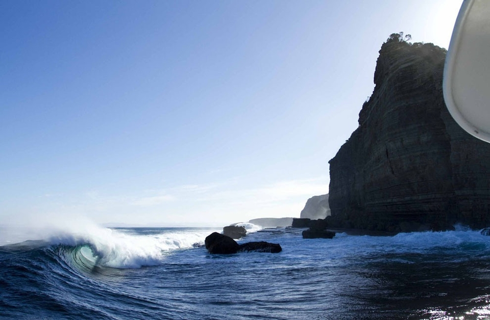 Shipstern Bluff -- an unmistakable headland throwing an inviting pit.