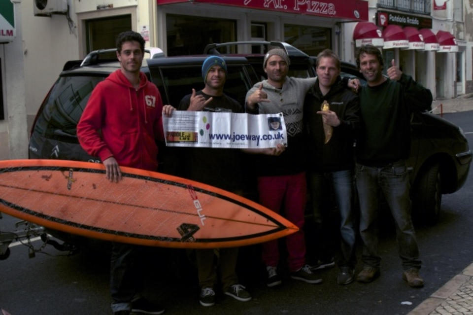 Hawian legend Shane Dorian with Eric Rebiere, Sebastian Steudtner, Hugo Vaue and Joe Way appeal supporter Tom Butler