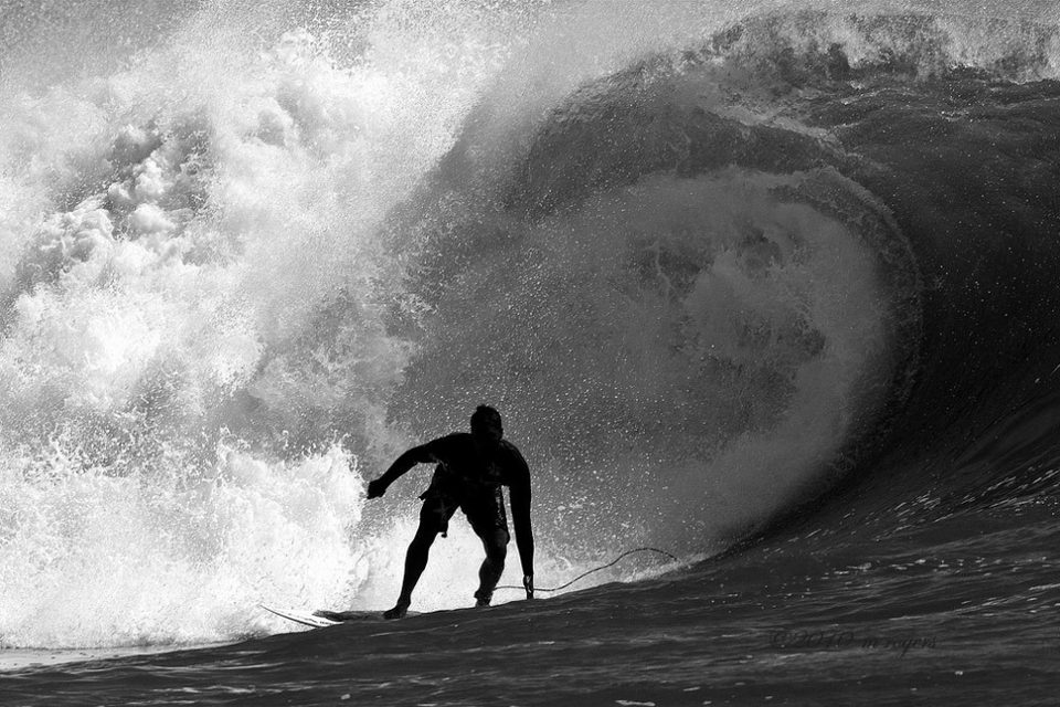 And when the swell hits the reef, a few feet of high period energy transforms into a gaping maw rivaling anywhere for hollow, brutal attraction .