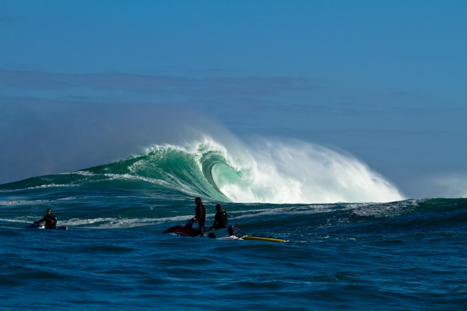 Number two swell, May 15th.     Early on the morning of the 15th the swell peaked and the tow crews gave it a shot before the paddle session commenced. Here Jake Kolnick and Mike Schlebach scope it all out.