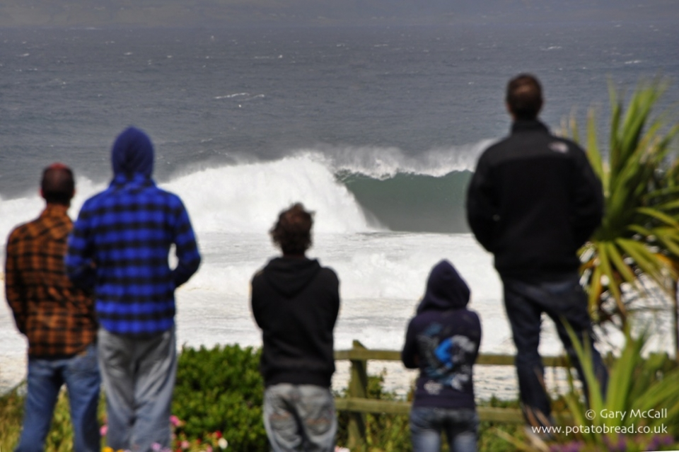 Scoping out the conditions at Mullaghmore.