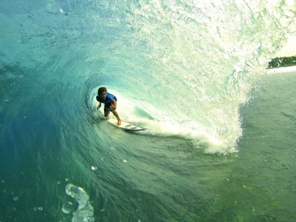 The local crew on Siargao have been brought up surfing the draining tubes of Cloud 9. 15-year-old John Mark