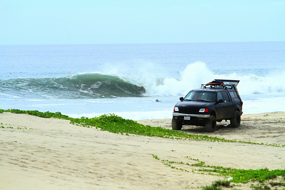This is the truck that brought us from Los Angeles all through the American Continent to Chile, where we are now.  We found this perfectly barreling right in Mexico.  It was us two brothers surfing for weeks, no one around, just empty lines and Julian Azulay paddling out for a morning session.  Captions by Joaquin Azulay.