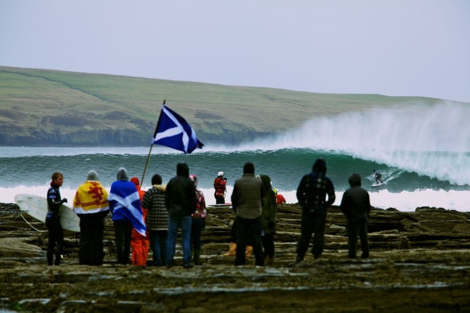 And conditions did not relent throughout the day. Australian surfer Dion Atkinson started off the day with a high heat score of 15.33 in Heat 1. And in Heat 16 of the day New Zealand surfer Richard Christie came up with a score of 17.50.   But there was no forgetting that this is the North coast of Scotland. Whilst the waves were drawing cheers from the crowds gathered on the shore, the weather was not. Cold temperatures both in an out of the water, coupled with rain and hail ensured this was classic Cold Water Classic conditions.   But nothing was going to take away from the quality of surf today as contest organisers got through 20 heats in the first round of this 6 Star ASP competition.