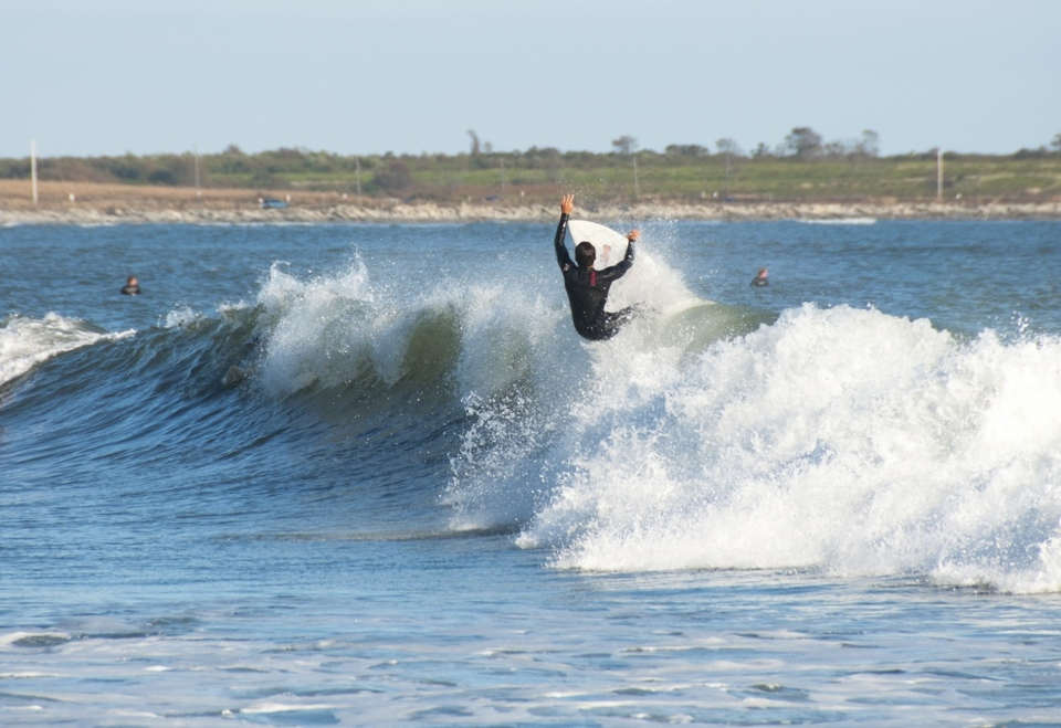 Off the top of a playful one at Rhode Island's Sachuest Beach.   More  here
