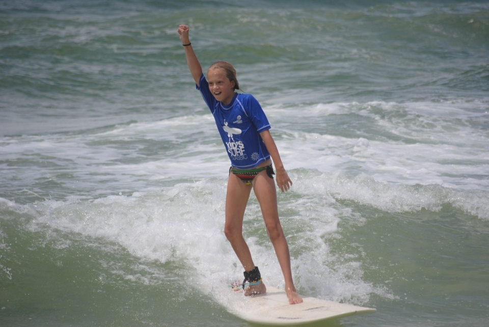 A stoked Aja Bell during the Surfrider Kids Classic went on Saturday at Destin.