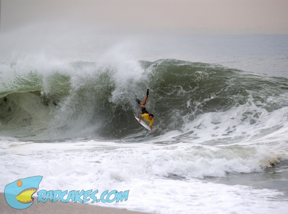 Vin Deantonio air-dropping into the New Jersey shorey thanks to Hurricane Leslie.