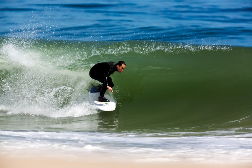 John Murphy ducking the lip at Massachusetts, Cape Cod.