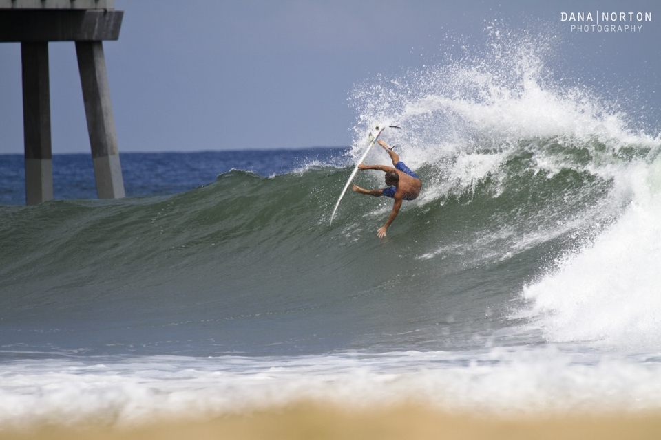 Thomas Bruce surfing Nags Head during Hurricane Leslie.
