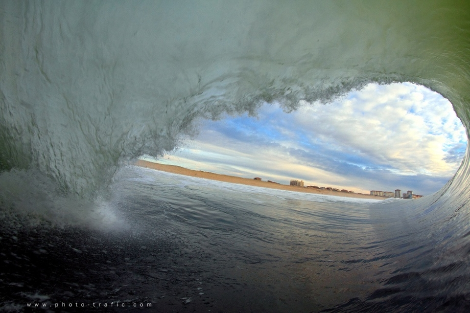 The view from inside the shorebreak just North of Hossegor known as La Graviere.
