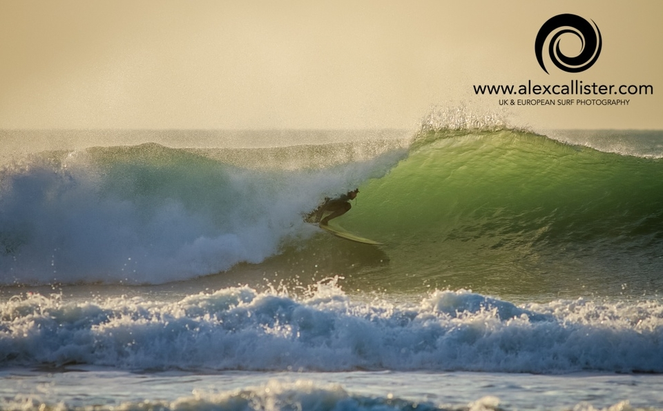 Porthtowan was a bit of a barrel fest late this arvo; shot from the beach for a change for Alex.