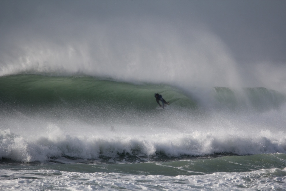 Fourth team rider Hazza Timson shooting a windy Easter Keg at Perranporth on March 31st.