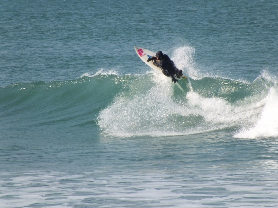Description: Christian B off the lip at Jersey's La Saline on April 1st.