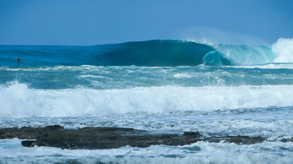 Somewhere in Indo. A tow session during the largest swell of the Indo season.