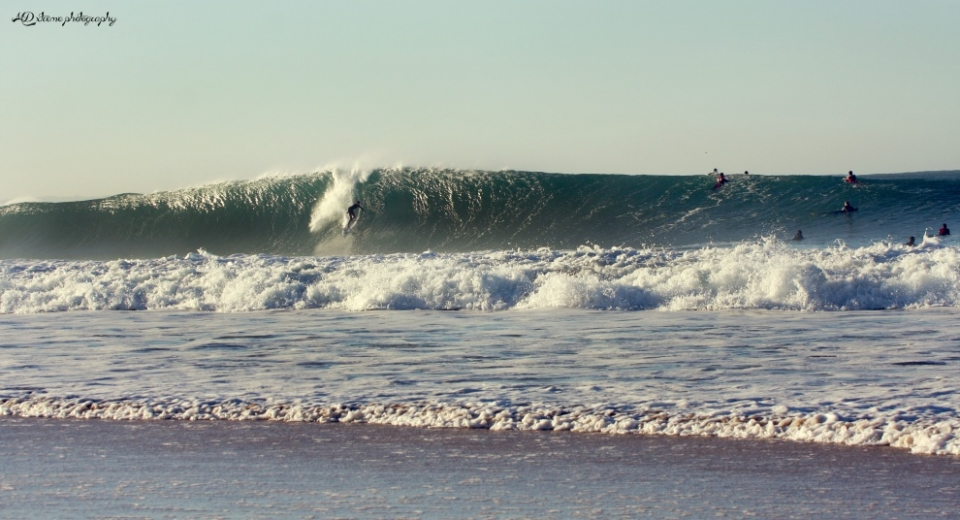 Supertubos, Portugal.  One of the best winter days at Supertubos .... sunny, big, and offshore.