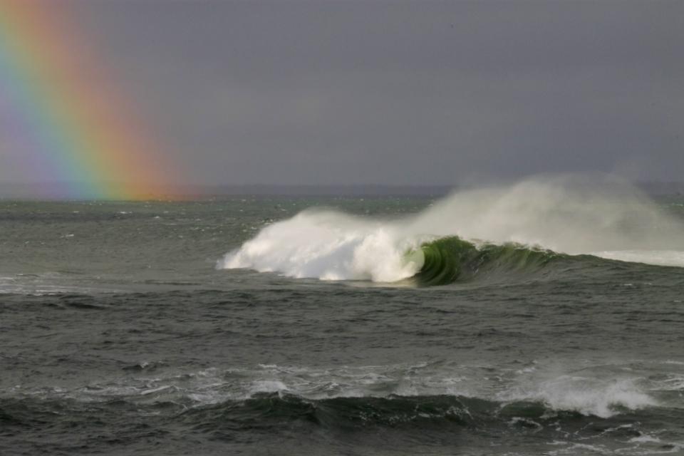 Slab, Nova Scotia.  Not quite a pot of gold. I love this place, but the swell and wind weren't quite combining this time.