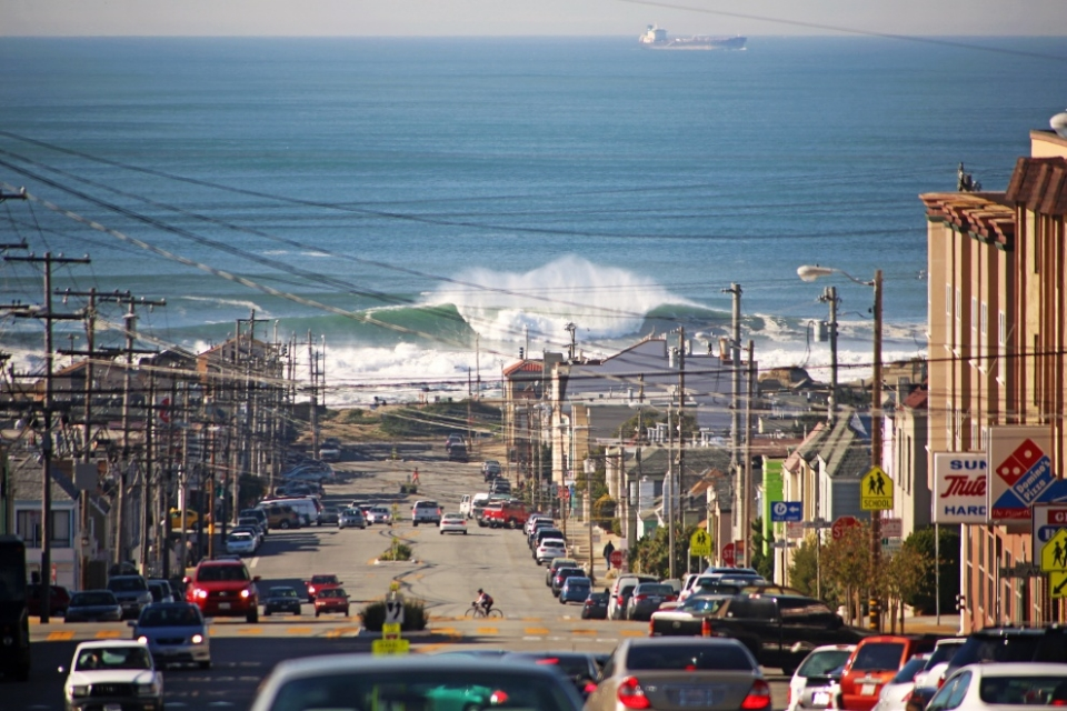 Ocean Beach, California.  On Monday December 16th Ocean Beach caught fire. Those who could make it past the walls of white were treated to one of the sessions of the year. The rest simply stood and slack jawed in wonder.