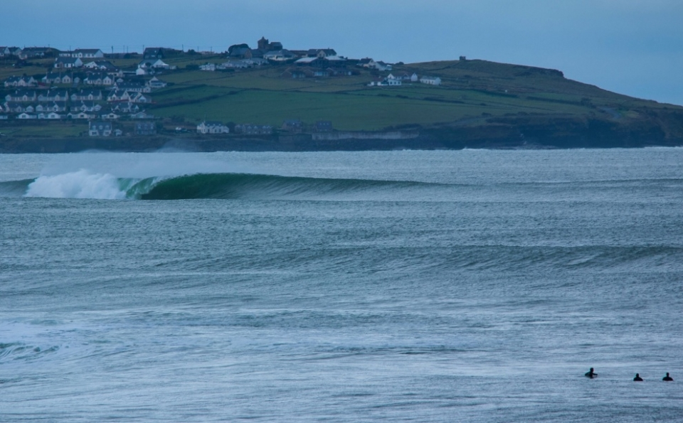 Slab, Ireland.  I'm an Aussie just living, surfing and travelling through Europe. There were waves on every side of me, but my focus was on a right peeling straight ahead. There was one bodyboarder surfing this distant slab, but he was the only person I could see.