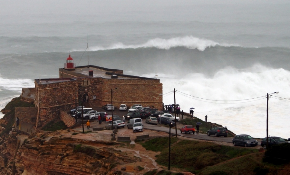 There are few places better than Nazare to watch the arrival of one of the storms of the year, despite the lack of wave riders.