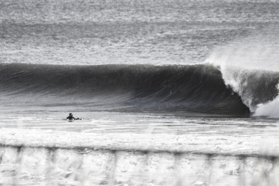 It's not always easy to score waves on the East Coast, and it certainly doesn't help when you face the wrong way.