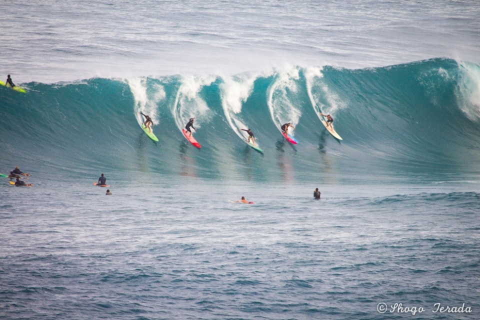 Waimea, Oahu.  Not big enough for the Eddie but more than enough wave to share. Synchronised surfing is going to take the world by storm in 2014.  Waimea, Oahu.