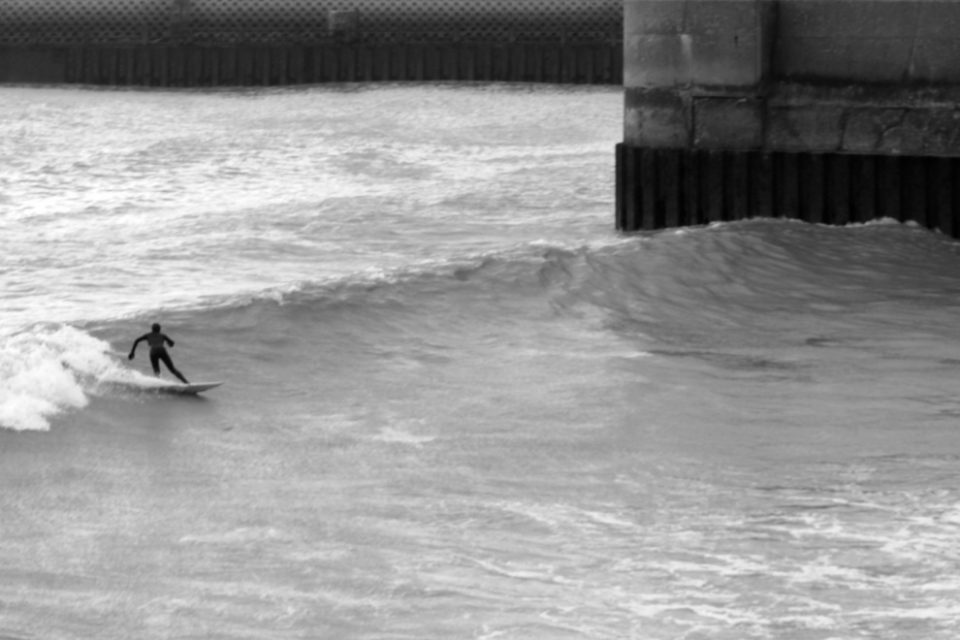 Hannah Coombes on a harbour left at Shoreham.