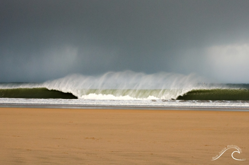 An abrupt bend in the coastline may clean up the wave faces, but paddling into that much wind isn't a whole lot of fun.