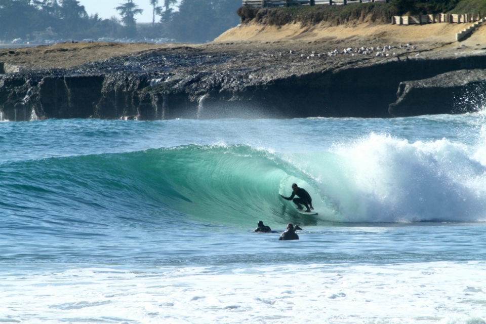 Slab, Northern California.  It's actually a wave on the east side, but the closest break is Pleasure Point. It's a reef break slab and was as good as it looks. About a dozen agro guys out. Northern California has been nothing short of quality this past month!  Twitter/Instagram: @caliknows.