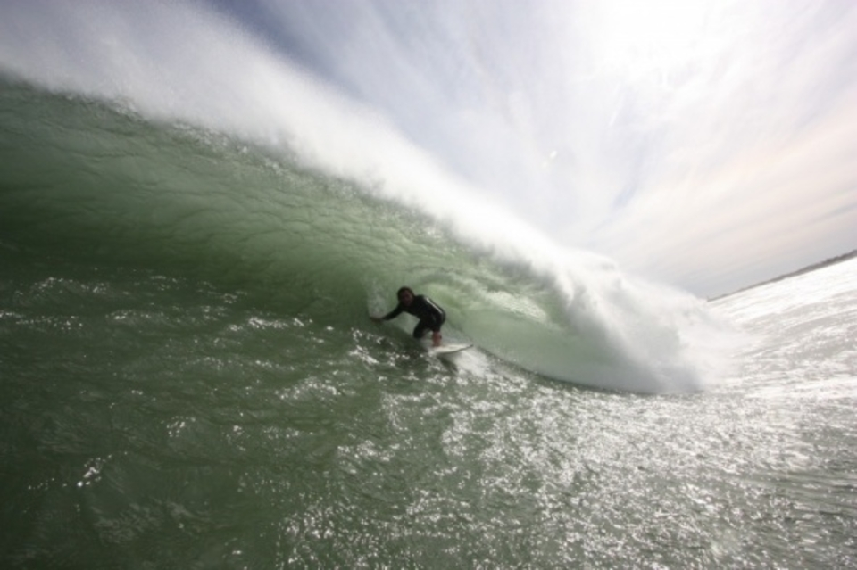 Tucks into a windy one ... Sean Holmes