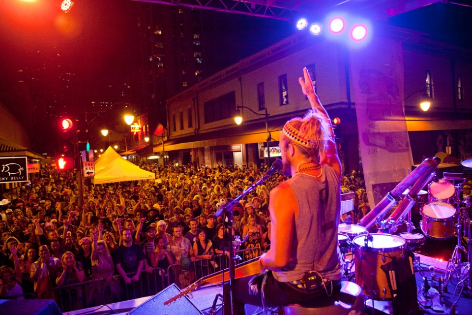 They held a huge street party in downtown Honolulu during Halloween which included Australia's famous musician; Xavier Rudd.The place was going off!