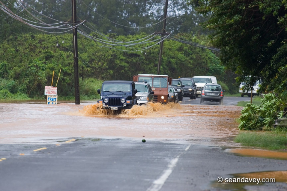 Flooding between Turtle Bay and the North Shore.