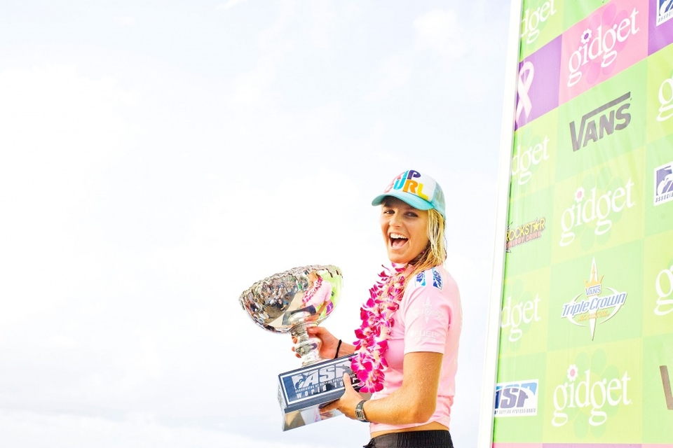 STEPHANIE Gilmore claimed her third consecutive ASP Women's World Title at Gidget Pro at Sunset Beach. An amazing achievement for the 21-year-old Aussie.