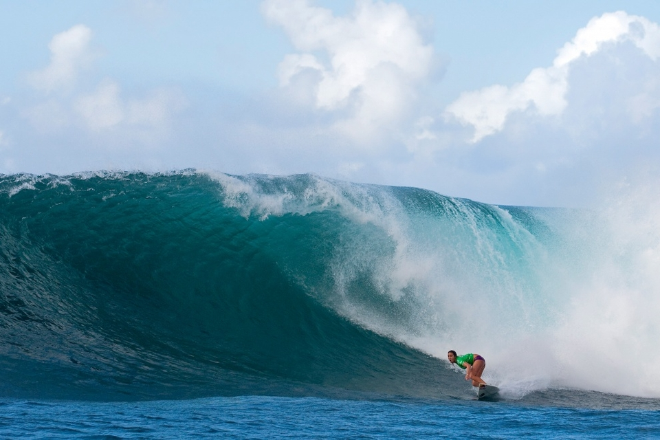Moore, who entered the Gidget Pro via the trials, surfed with amazing poise and maturity throughout the event's entirety to eventually win on her home Island of Oahu.